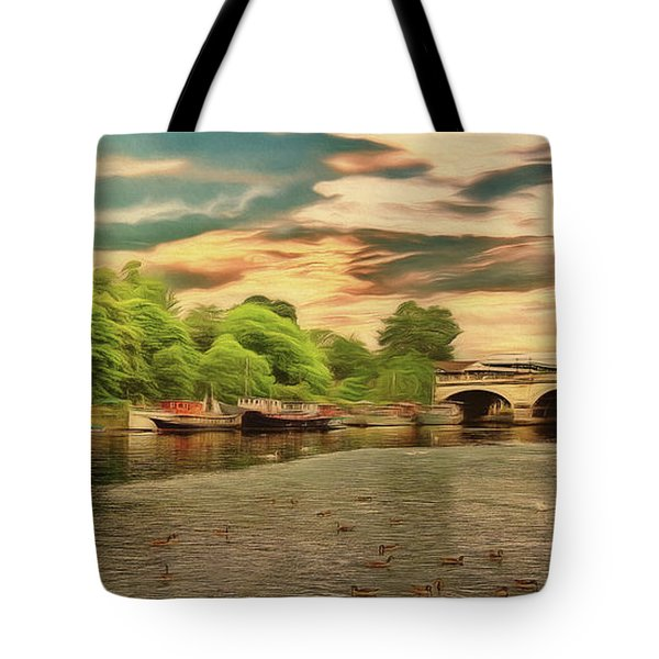 This Morning On The River Tote Bag