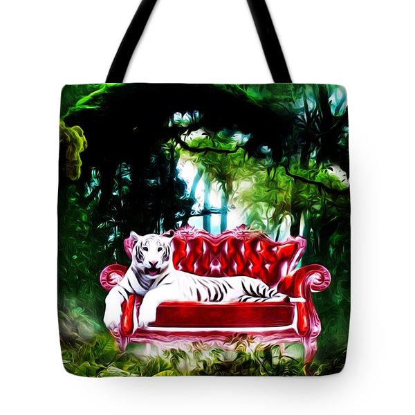 Tote Bag featuring the mixed media This Place Is Reserved For The Boss by Gabriella Weninger - David