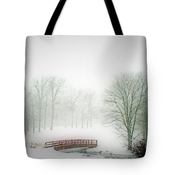 This Small Bridge, Located On A Golf Course, Always Provides A Scenic View. When A December Blizzard Tote Bag