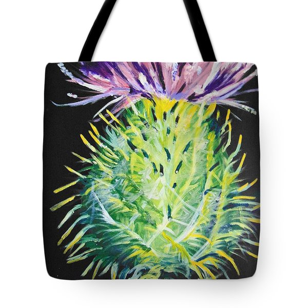 Tote Bag featuring the painting Thistle by Saundra Johnson