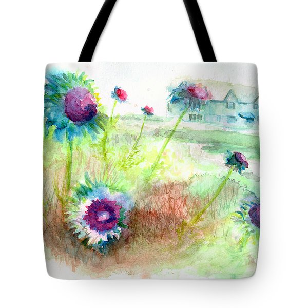 Tote Bag featuring the painting Thistles #1 by Andrew Gillette