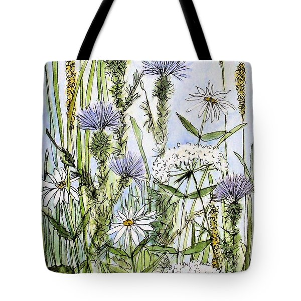 Thistles Daisies And Wildflowers Tote Bag
