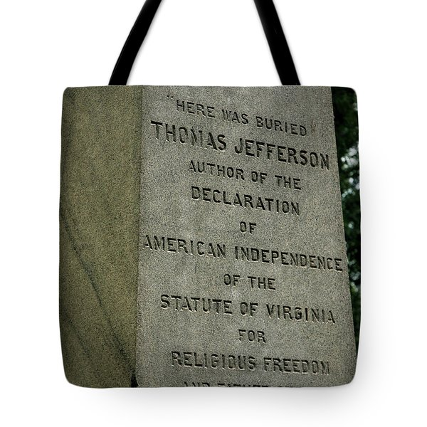 Thomas Jefferson Tombstone Close Up Tote Bag