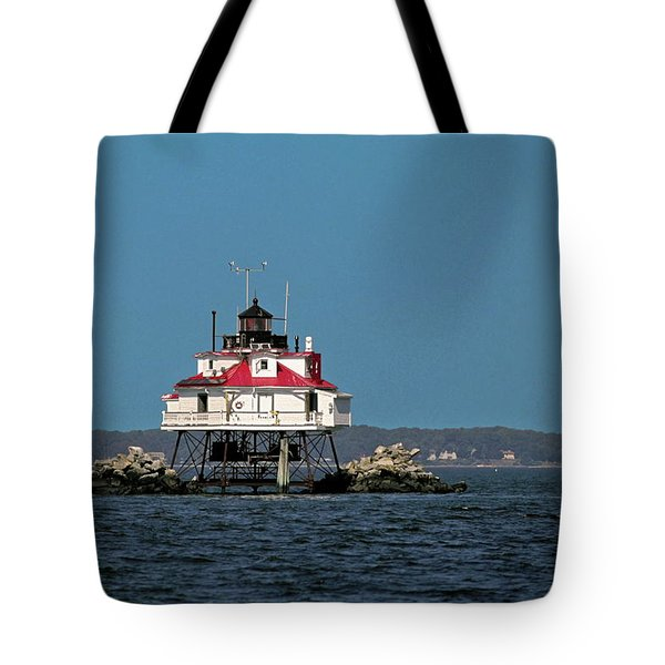 Thomas Point Shoal Light Tote Bag by Sally Weigand