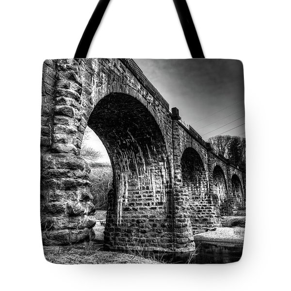Tote Bag featuring the photograph Thomas Viaduct In Black And White by Dennis Dame