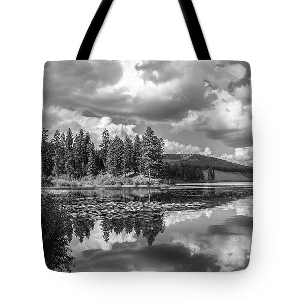 Tote Bag featuring the photograph Thompson Lake In Black And White by Teresa Wilson