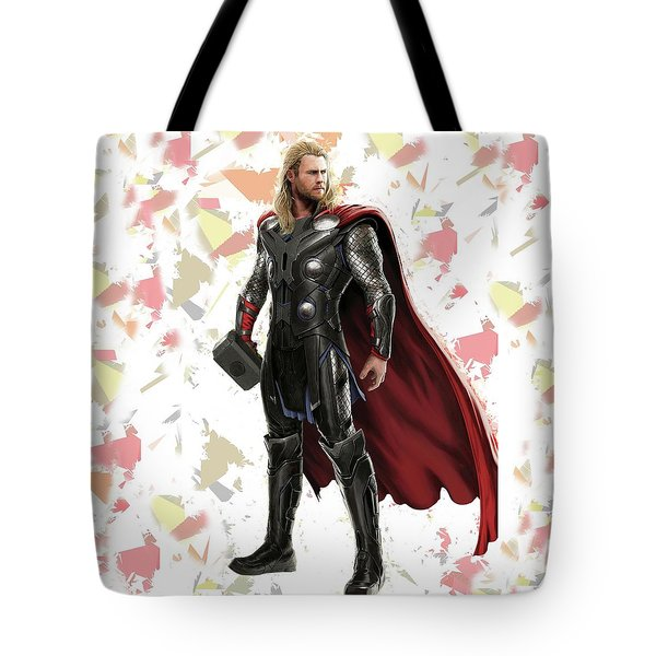 Tote Bag featuring the mixed media Thor Splash Super Hero Series by Movie Poster Prints