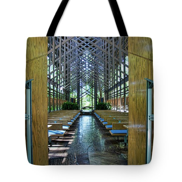 Tote Bag featuring the photograph Thorncrown Chapel Entrance by Cricket Hackmann