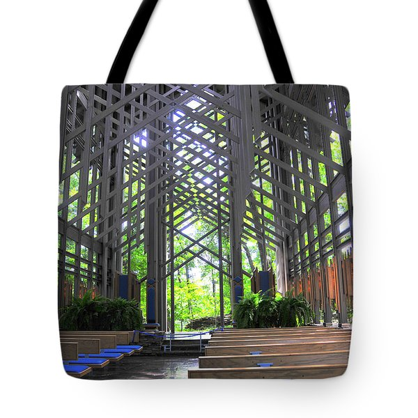 Thorncrown Chapel Eureka Springs Arkansas Interior Horizonal Tote Bag