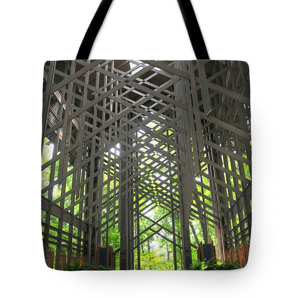 Thorncrown Chapel Eureka Springs Arkansas Interior Verticle Tote Bag