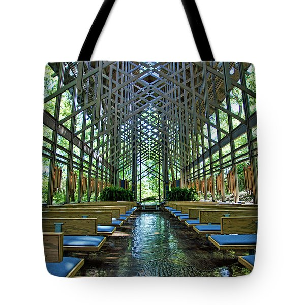 Tote Bag featuring the photograph Thorncrown Chapel Interior by Cricket Hackmann