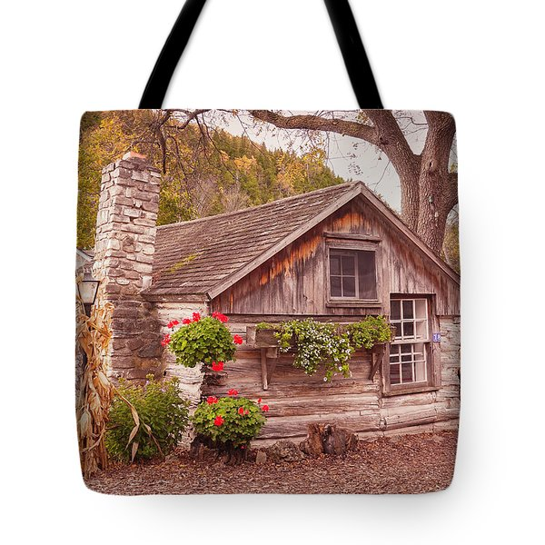 Tote Bag featuring the photograph Thorp Cabin Door County Wisconsin by Heidi Hermes