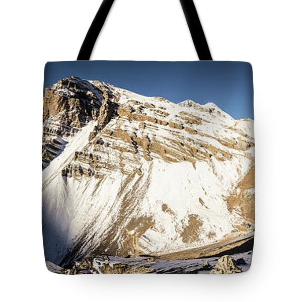 Thorung La Pass In The Annapurna Range In The Himalayas In Nepal Tote Bag