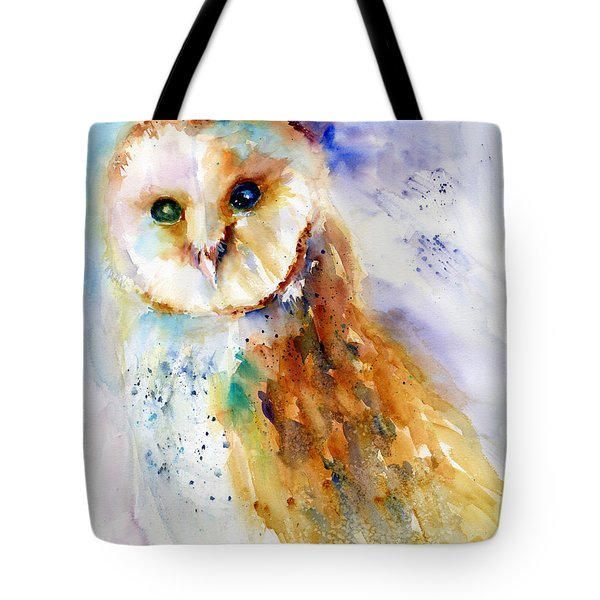 Thoughtful Barn Owl Tote Bag by Christy Lemp