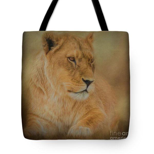 Thoughtful Lioness - Square Tote Bag