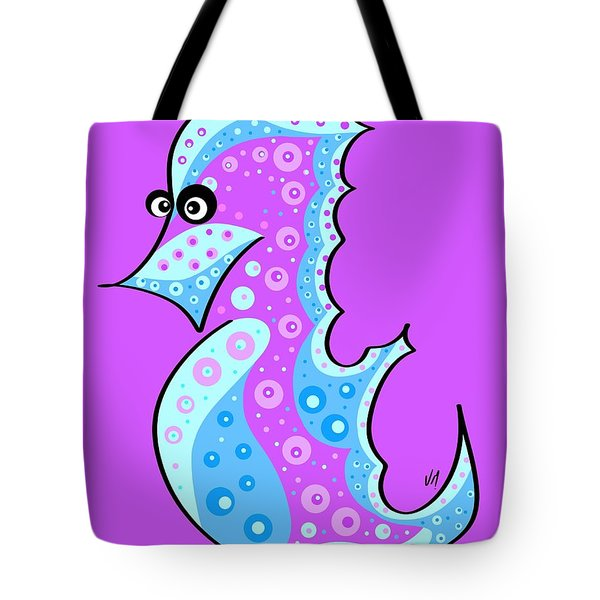 Tote Bag featuring the painting Thoughts And Colors Series Seahorse by Veronica Minozzi