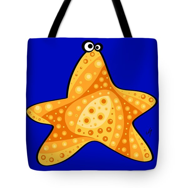 Tote Bag featuring the painting Thoughts And Colors Series Starfish by Veronica Minozzi