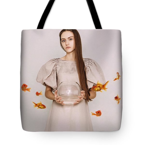 Thoughts Of Freedom. Series Escape Of Golden Fish  Tote Bag