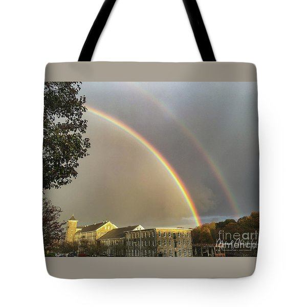 Tote Bag featuring the photograph Thread City Double Rainbow  by Michael Hughes