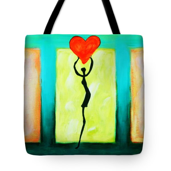 Three Abstract Figures With Hearts Tote Bag by Bob Baker