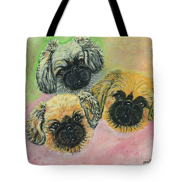 Tote Bag featuring the painting Three Amigos by Ania M Milo