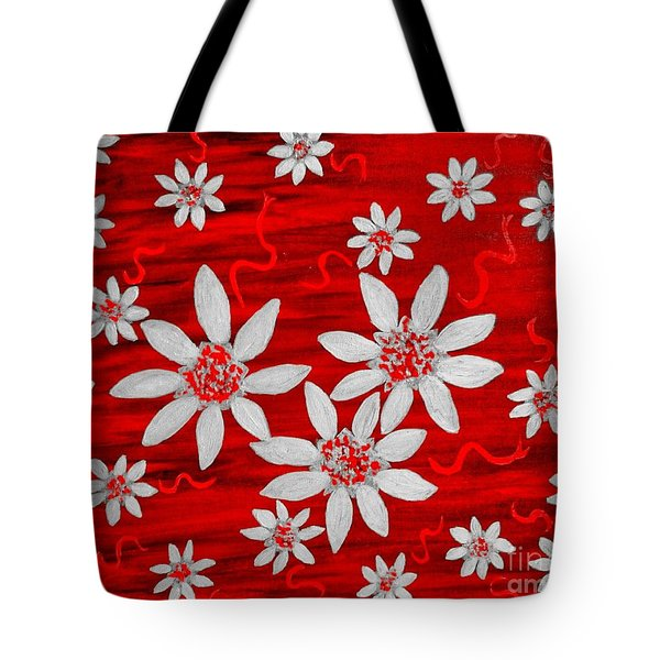 Three And Twenty Flowers On Red Tote Bag