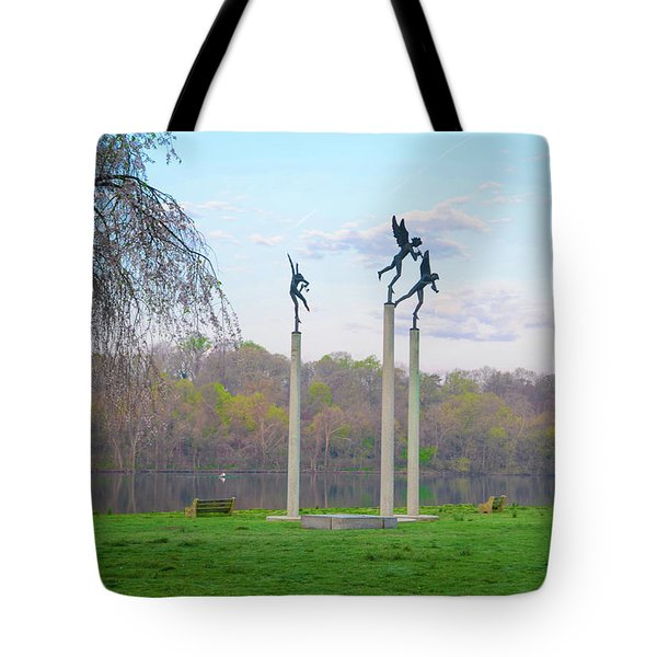 Tote Bag featuring the photograph Three Angels In Spring - Kelly Drive Philadelphia by Bill Cannon