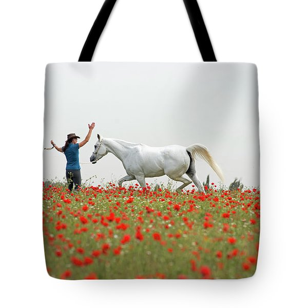Three At The Poppies' Field Tote Bag