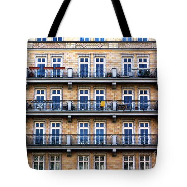 Tote Bag featuring the photograph Three Balconies In East Berlin by John Rizzuto