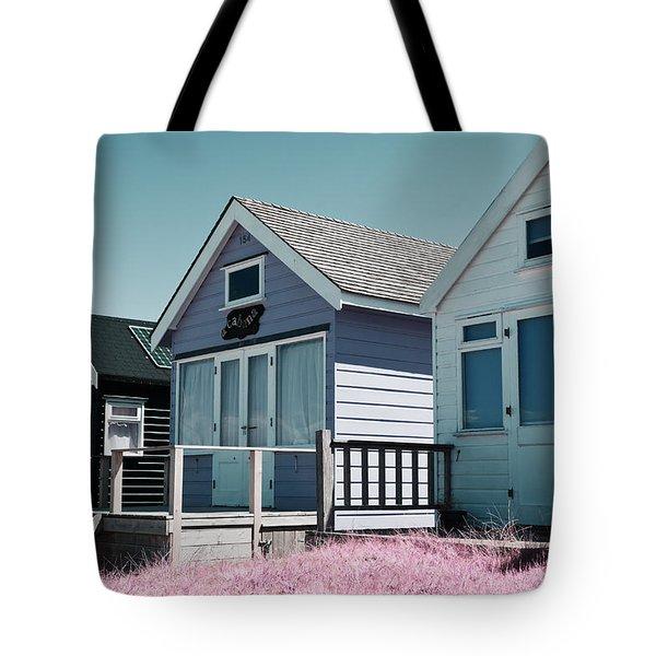 Three Beach Huts Blue Tote Bag