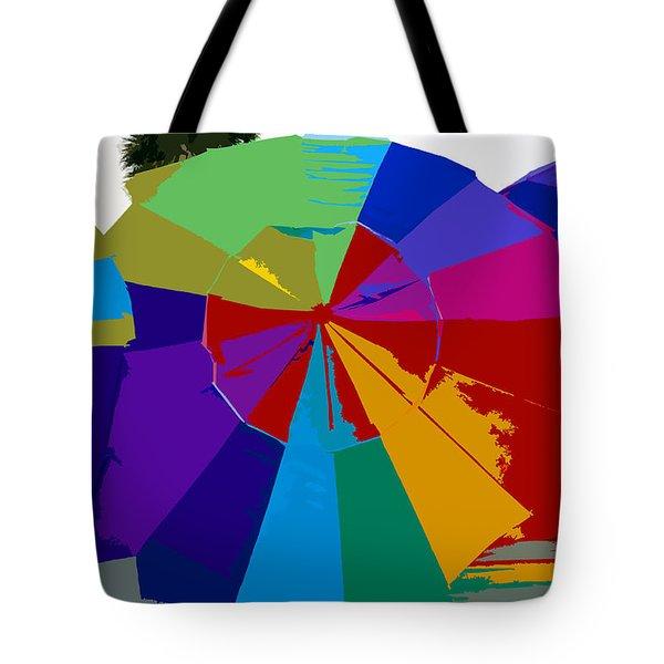 Three Beach Umbrellas Tote Bag by David Lee Thompson