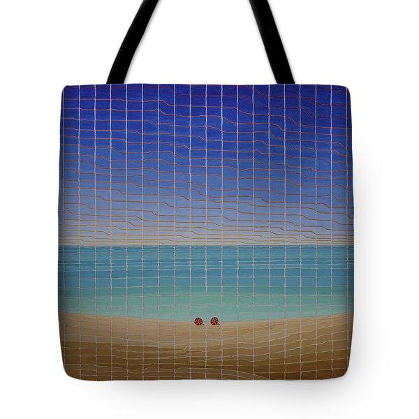 Three Beach Umbrellas Tote Bag