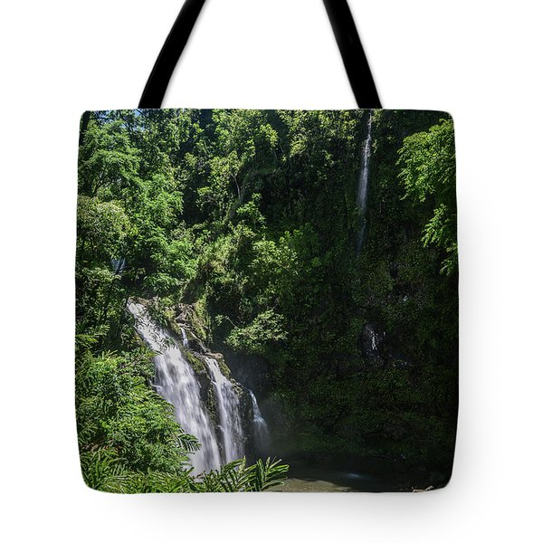 Three Bear Falls Or Upper Waikani Falls On The Road To Hana, Maui, Hawaii Tote Bag