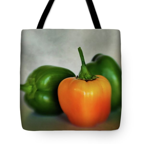 Tote Bag featuring the photograph Three Bell Peppers by David and Carol Kelly