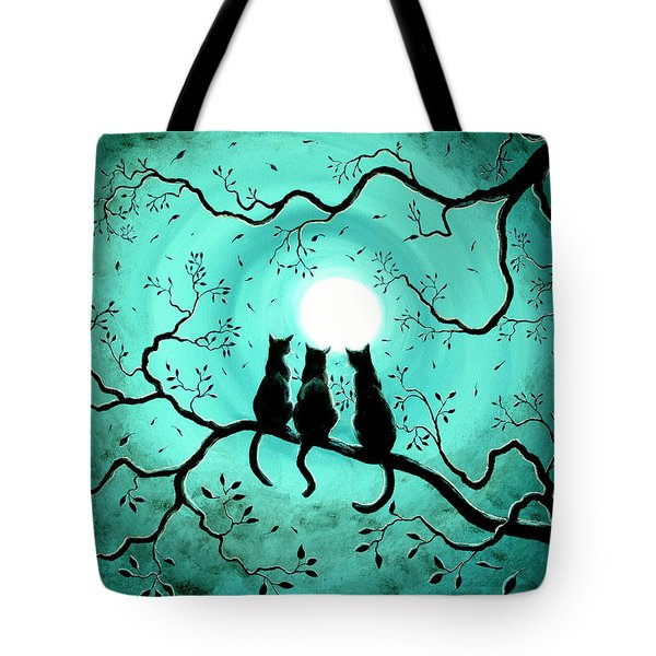 Three Black Cats Under A Full Moon Tote Bag by Laura Iverson
