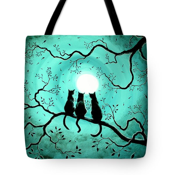 Three Black Cats Under A Full Moon Tote Bag