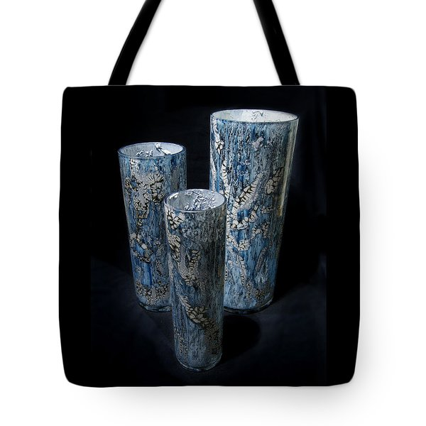 Three Blue Cylinders Tote Bag