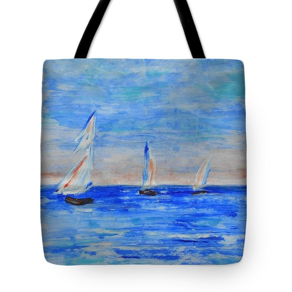 Three Boats Tote Bag by Jamie Frier