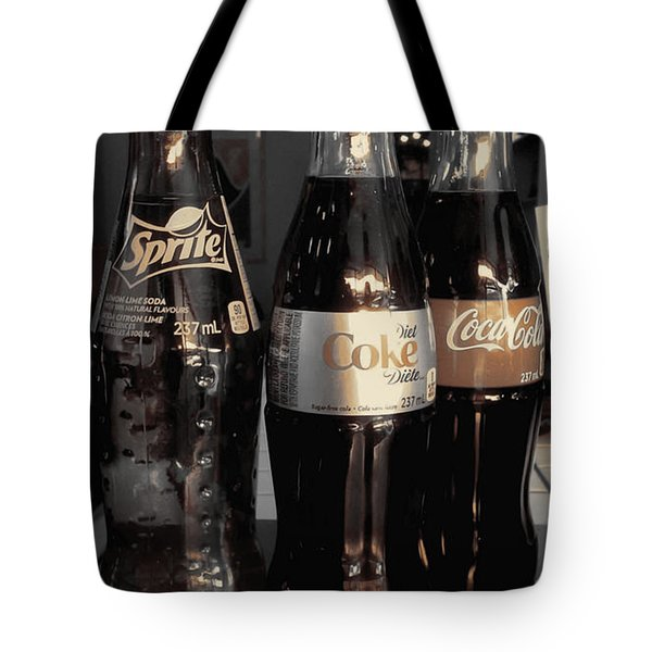 Tote Bag featuring the photograph Three Bottles Full by Saad Hasnain