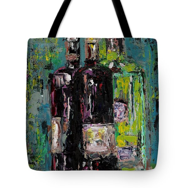 Three Bottles Of Wine Tote Bag by Frances Marino