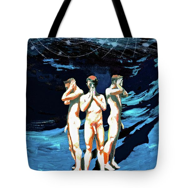Tote Bag featuring the painting Three Boys, Hear No Evil, Speak No Evil, See No Evil by Rene Capone