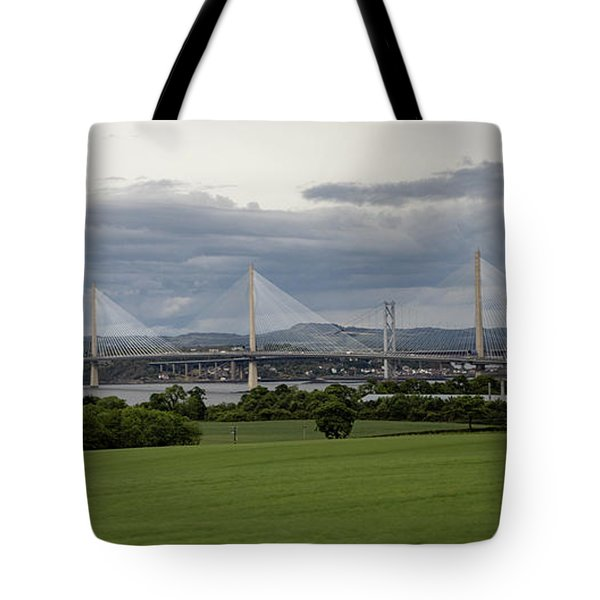 Tote Bag featuring the photograph Three Bridges Over The Forth by Teresa Wilson