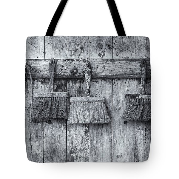 Tote Bag featuring the photograph Three Brushes Black And White by Tom Singleton