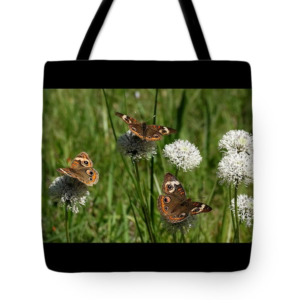 Three Buckeye Butterflies On Wildflowers Tote Bag by Sheila Brown