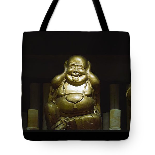 Three Buddhas Tote Bag