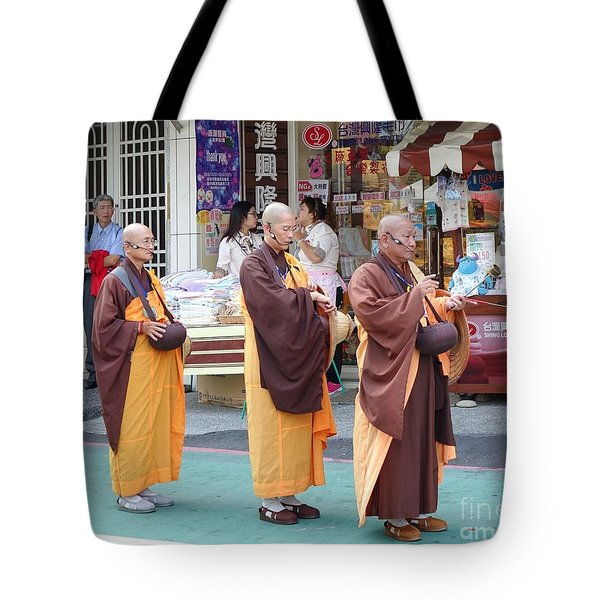 Tote Bag featuring the photograph Three Buddhist Monks Chant Scriptures by Yali Shi