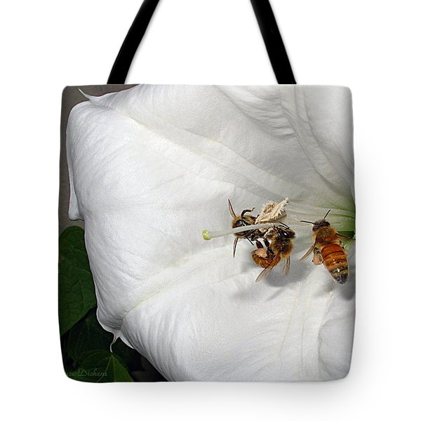 Tote Bag featuring the photograph Three Busy Bees by Joyce Dickens