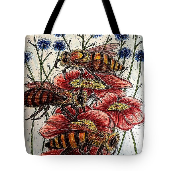 Three Busy Bees Tote Bag