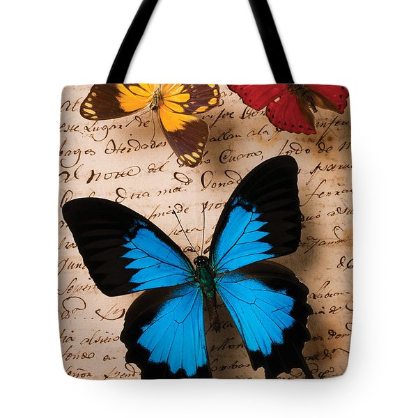 Three Butterflies Tote Bag by Garry Gay