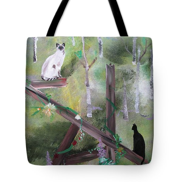Three Cats In The Yard Tote Bag